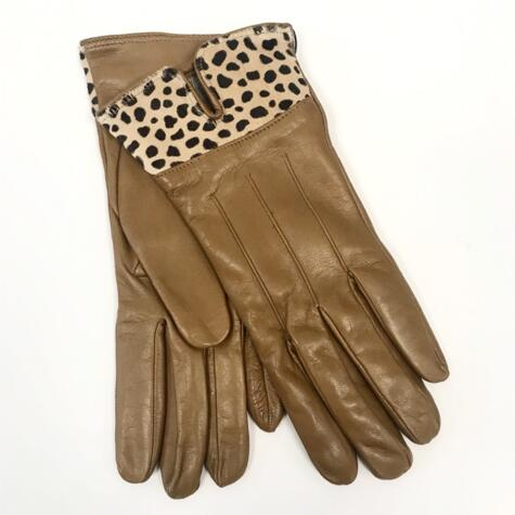CAMEL LEATHER GLOVES WITH ANIMALIER BAND